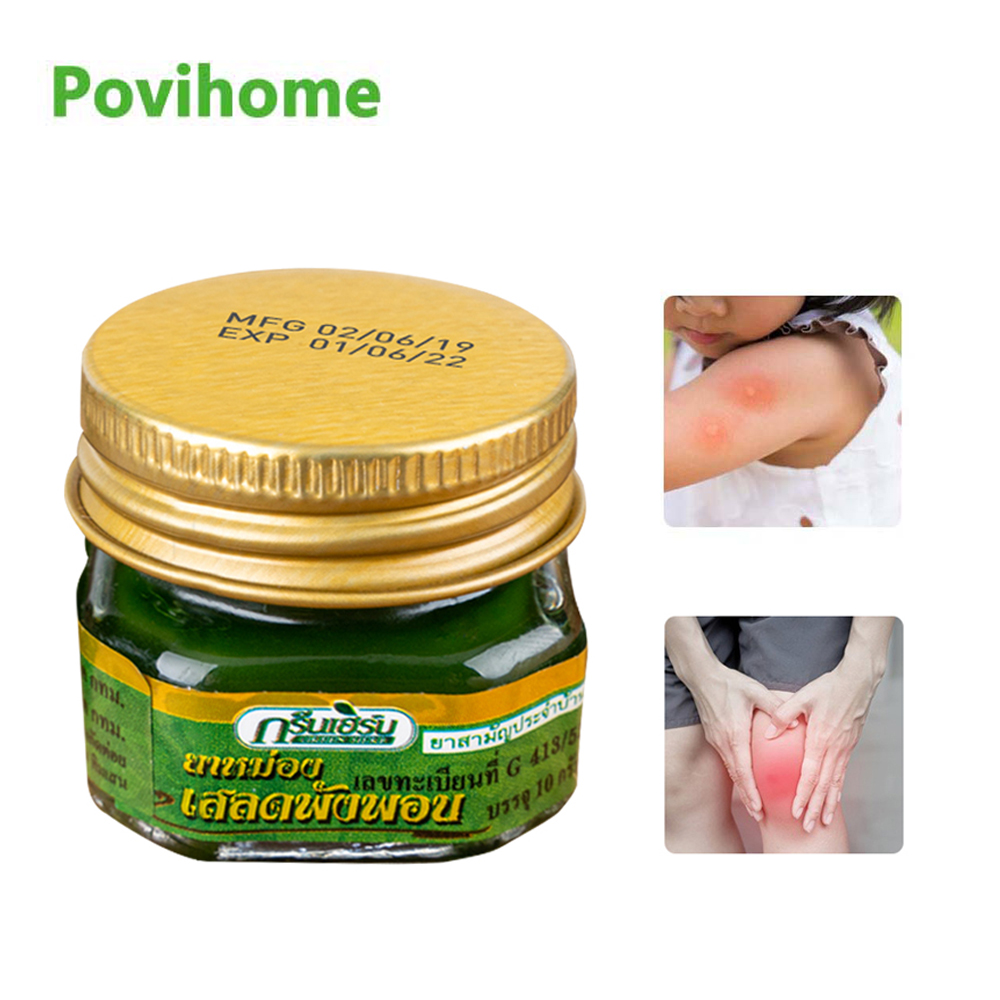 1pcs Thailand Green Herbal Blam Headache Muscle Rub Aches Pain Relieving Cream Itching Abdominal Ointment Cooling Oil Refresh