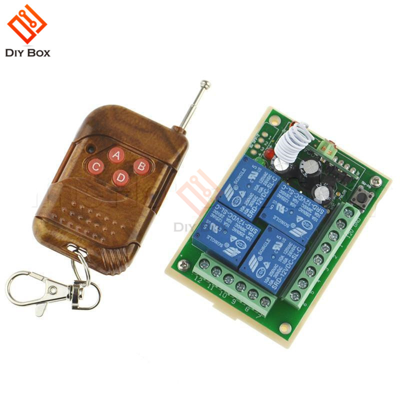 DC12V 4 Channel Relay Module Wireless Remote Control Switch RF Receiver + Transmitter