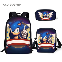 ELVISWORDS Primary Students School Backpack Set Sonic The Hedgehog Pattern Kids Book Bags Cartoon Design 3PCs/SET