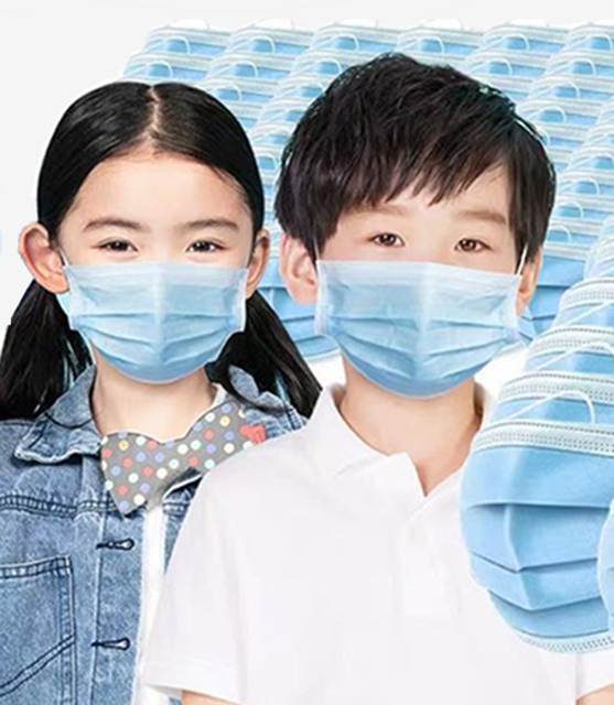 Children 50 Pcs Disposable Face Masks Protective Breathable Comfortable Thick 3-Layer Masks for School, Outdoor (Blue) 1