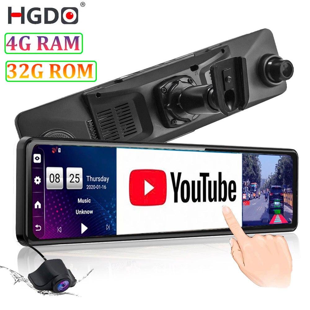 Видеорегистратор HGDO, 4G, 12 дюймов, с креплением для автомобильного видеорегистратора, Android камера в зеркале заднего вида 1080P, Wi-Fi, GPS-навигация, ...