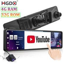 Hgdo 4g gravador de vídeo 12 mount dvr carro montar android espelho retrovisor câmera 1080p wifi navegação gps traço cam registrador 4g ram
