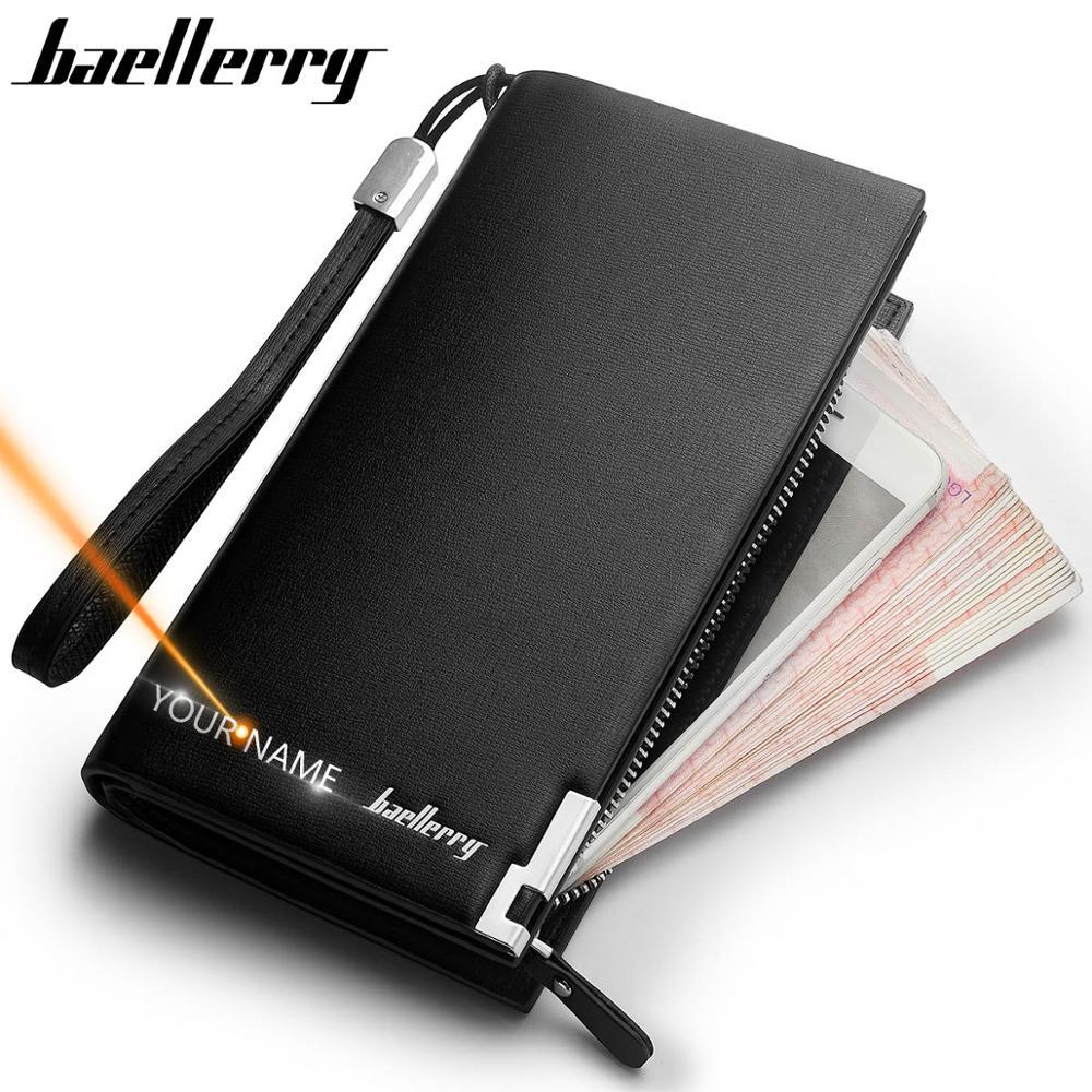 Baellerry 남자 지갑 클래식 롱 스타일 카드 홀더 남성 지갑 품질 지퍼 대용량 남성용 큰 브랜드 럭셔리 지갑
