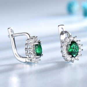 Image 3 - UMCHO 925 Sterling Silver Earrings Gemstone Created Emerald Clip Earrings For Female Birthday Anniversary Gifts Fine Jewelry