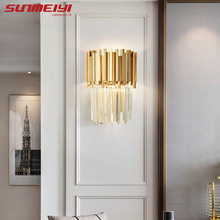 Nordic Wall Lamps For Bed rooms Gold Crystal Living room Bathroom Home Lighting Creative LED Corridor Stairs Light бра настенные