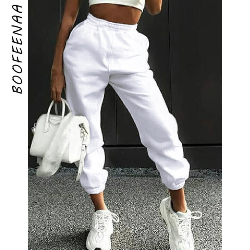 BOOFEENAA 2019 Autumn Winter Sweatpants Fleece High Waist Baggy Harem Pants Womens Bottoms Joggers Sports Wear Trousers C67-AF62