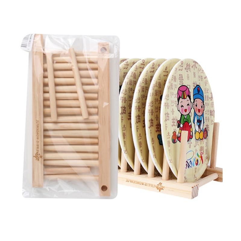 Multi-function Wooden Bamboo Plate Racks Solid Plate CD Bookshelves Racks 8 Grids Desktop Home Accessories Storage Shelf