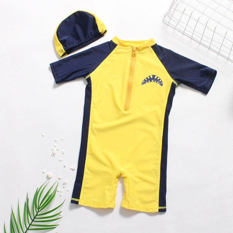 New Style KID'S Swimwear BOY'S Cartoon Shark Split Type Short Sleeve Baby Big Boy Beach Sun-resistant Swimsuit