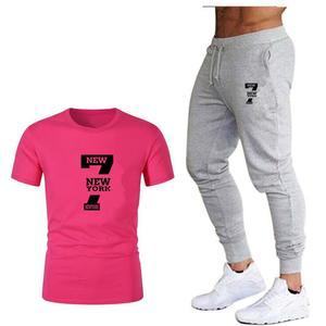 Image 3 - Tide brand LOGO printing mens short sleeved T shirt fashion casual loose T shirt + jogging sports pants 2019 new mens clothing