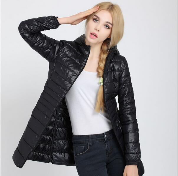 Fitaylor Autumn Winter Women Ultra Light Duck Down Coat Hooded Jackets Slim Medium Long Plus Size Parkas Thickness Overcoat 4