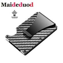 Purse Billetera Business-Card-Holder Carbon-Fiber RFID Carteira NEW Male Non-Scan Masculina