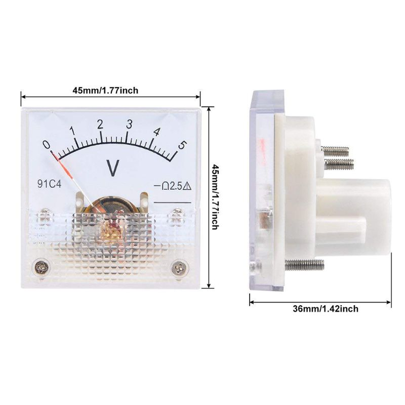 91C4 DC Voltmeter Analog Panel Voltage Meter Mechanical Pointer Type 3/5/10/15/20/30/50/100/150/250V