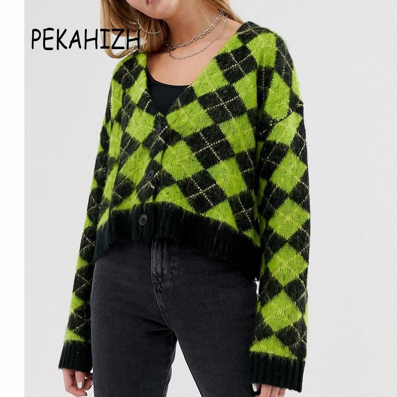 Vintage Long Sleeve Sweater Women Sweaters Kawaii Mohair Sweater Korean Plaid Sweater Winter Clothes Women 2019