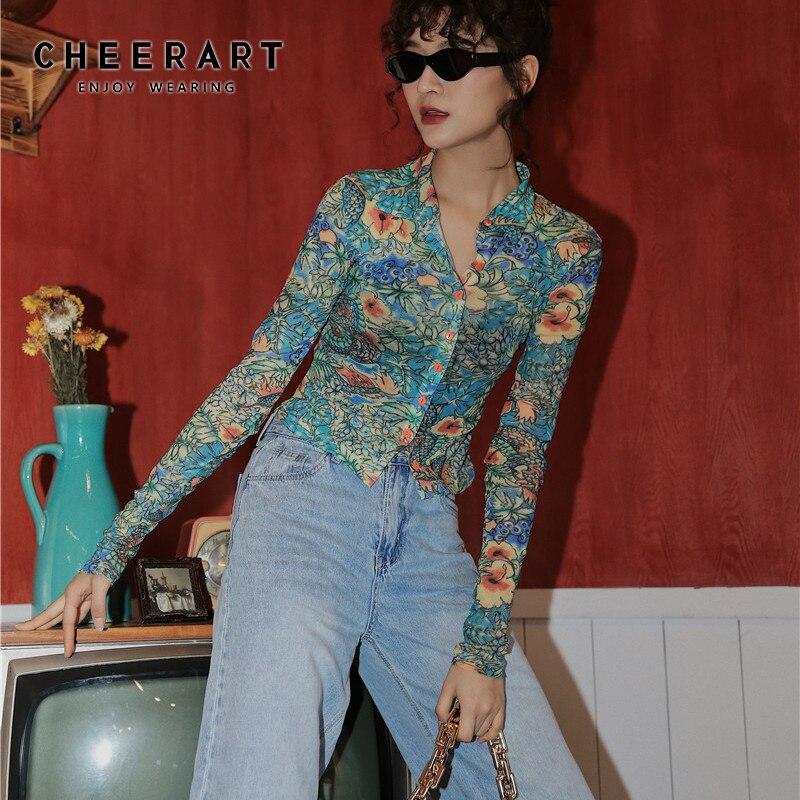 CHEERART – chemise à manches longues avec bouton top see through pour femme, haut transparent à la mode en maille, vêtement de créateur pour l'automne 2020 avec imprimé dragon