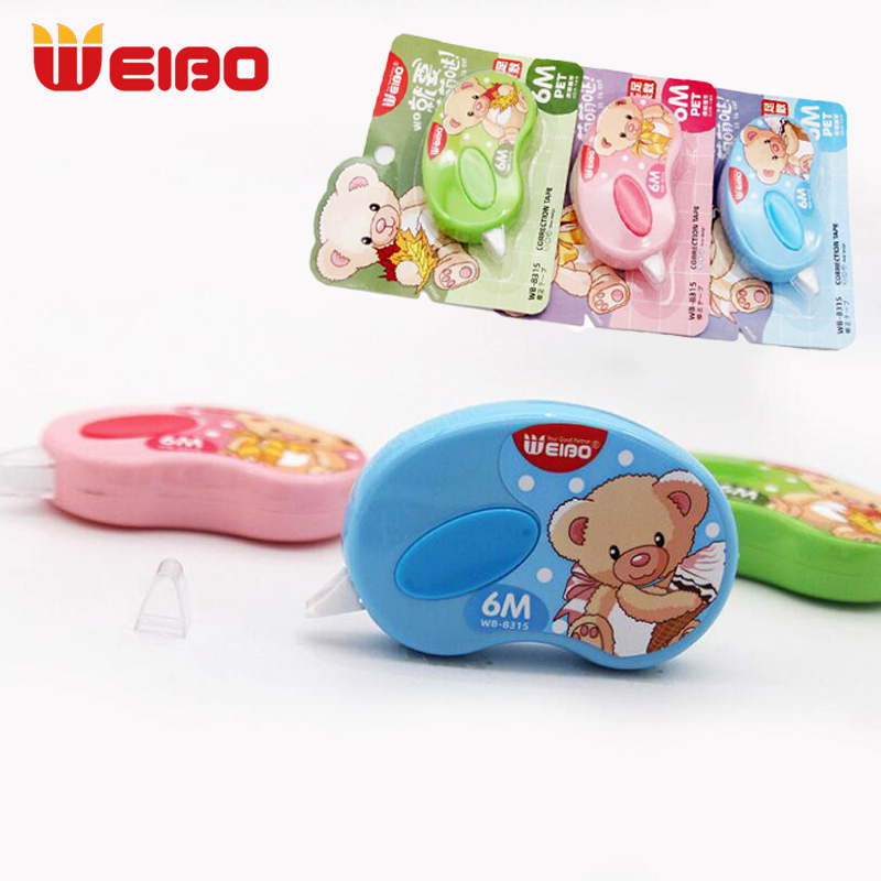 WEIBO 6m Cute Bear Correction Tape School Stationery For School Supplies 5mm Kawaii Students Correction Tapes 1pcs
