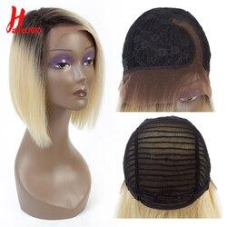Kurze Spitze Teil Menschliches Haar Perücken Ombre Blonde Menschenhaar Spitze 1B/613 Perücke Brasilianische Haar Bob Perücke Für schwarz Frauen 11 Zoll HairUGo
