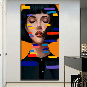 Nordic Wall Art Girl Canvas Paintings Portrait Poster Print Wall Pictures For Living Room Modern Figure Art Cuadros Decoration