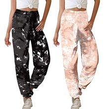 Women Comfort Straight Wide Leg Loose Pocket tie-dye Gradient Trousers Sweatpants mujer pantalones Elastic Waist Trousers(China)