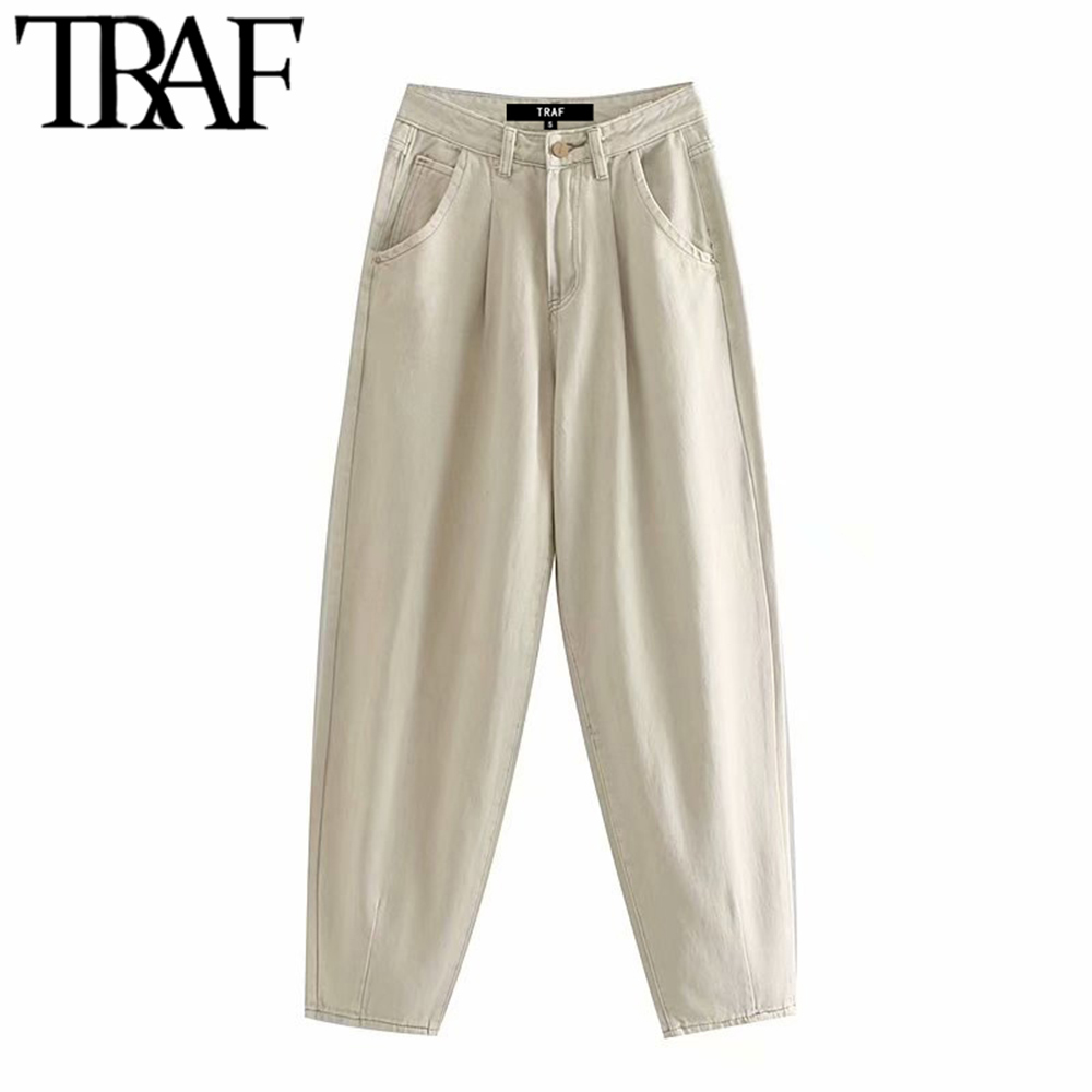 TRAF Women Harem Pants Stylish Pockets High Waist Jeans Vintage Fashion Zipper Fly Streetwear Denim Trousers Chic Jean Femme