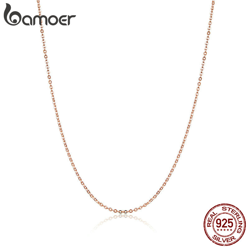 BAMOER 925 Sterling Silver Basic Rose Gold Color Color Necklace For Women Necklaces Only Fit Pendant Female Fine Jewelry SCA014