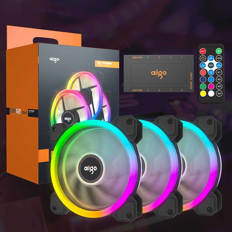 Aigo DR12-ventilateur refroidisseur Double Aura, pour ordinateur, silencieux, 120mm, avec télécommande IR am3 am4, boîte de jeu mm