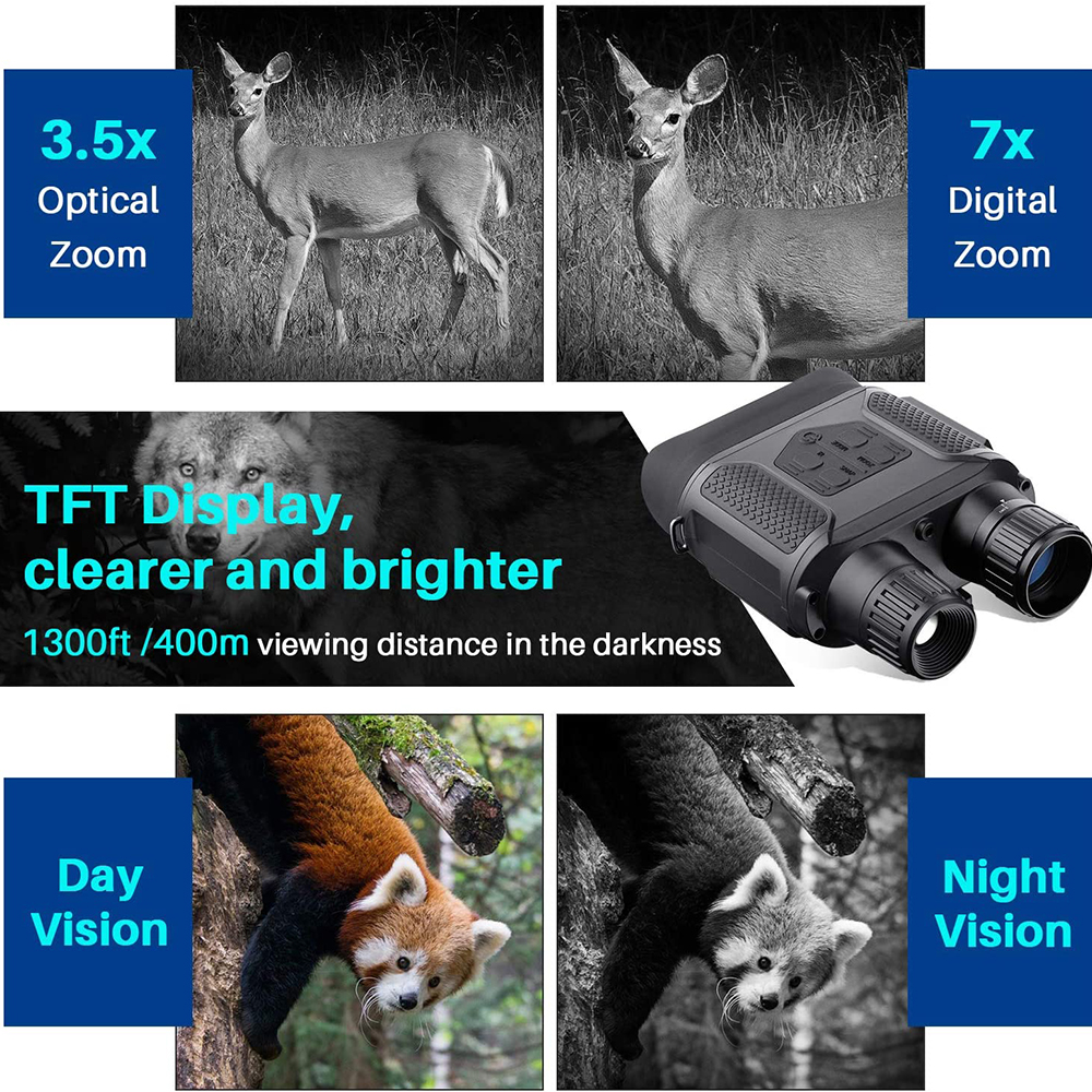 7X31 Infrared HD Digital Night Vision Goggles Camera Handheld Binoculars Image Video Recording Infrared Camera NV400B Widescreen