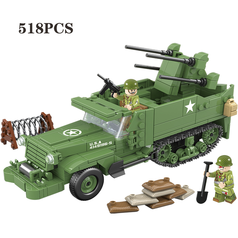 NEW 518PCS USA M16 Half Track Quadruple Air Defense Vehicle Building Blocks WW2 Military Army Soldier Weapon Parts Bricks Toys