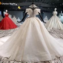 HTL1057 فساتين زفاف سباركلي كاتدرائية طوق سلسلة قبالة الكتف حبة فساتين زفاف رخيصة vestido دي نوفيا مانغا caida
