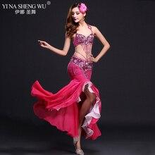 Conjunto de traje de actuación de danza del vientre sujetador con lentejuelas faldas con cola de pez danza hermosa ropa mujer danza del vientre 7 colores