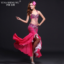 Dança do ventre desempenho traje conjunto bellydance lantejoulas sutiã cauda de peixe saias dança bela mulher roupas bellydancing 7 cores