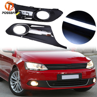POSSBAY Matte Black DRL Fog Light Front Bumper Grille Cover With LED Running Lights for VW Jetta MK6 2011 2014 Pre facelift