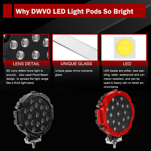 """Image 4 - OKEEN Barra de luz LED de alta potencia, foco de trabajo de 7 """", 51W, foco de conducción por inundación, para todoterreno, 12V, 24V, 4x4, 4WD, barco, SUV, camión, JEEP"""
