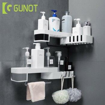 GUNOT Corner Shower Shelf Creative Seamless Rotating Tripod Home Wall-mount Storage Rack Multifunction Bathroom Accessories Sets