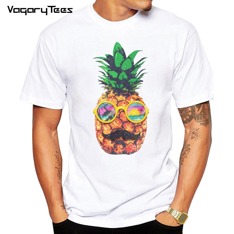 H857b41498d3442b88e3e22ad25a327d4O - men Clothes Sun Beach Pineapple Funny Aesthetic Printed Tshirt men Leisure Short Sleeve O-neck T Shirt Fruit T-shirt