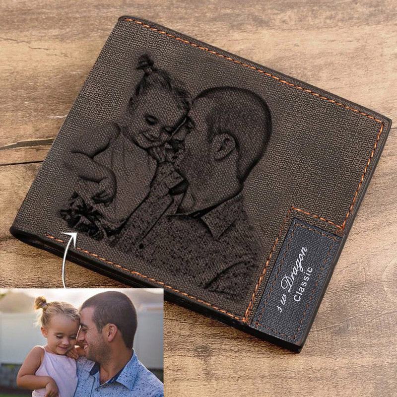 Custom Engraving Pattern Mens Short Style Bifold Custom Inscription Photo Engraved Wallet Mens Wallet PU leather Short Wallet