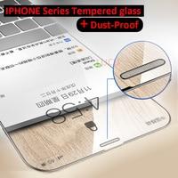 Protector de pantalla de cristal templado 3D para iphone, película protectora de malla metálica a prueba de polvo para iphone X, XS, MAX, XR, 6, 6S, 7, 8 Plus