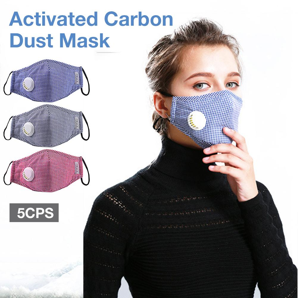 5PCS Carbon Dust Mask Riding Windproof Warm Half Face Mask For Outdoor Motorcycle Bicycle Cycling Ski With Filter