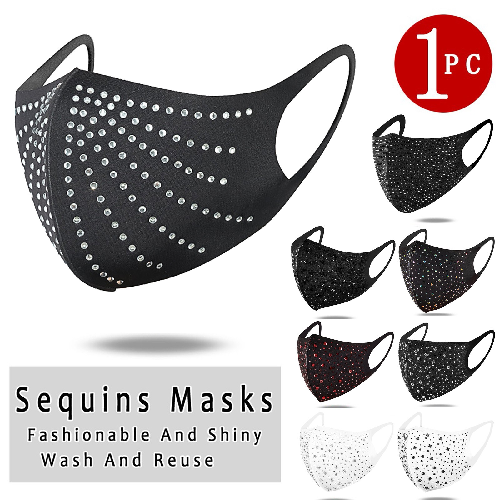 Breathable Diamonds Mouth Mask Washable And Reusable Party Mask Decoration For Face Rhinestone Mask Scarf masque mascherine 1
