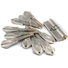 European standard security door lock core Gate 55 60 65 70 75 80 85 90mm 10 alloy keys Stainless steel locks cylinder