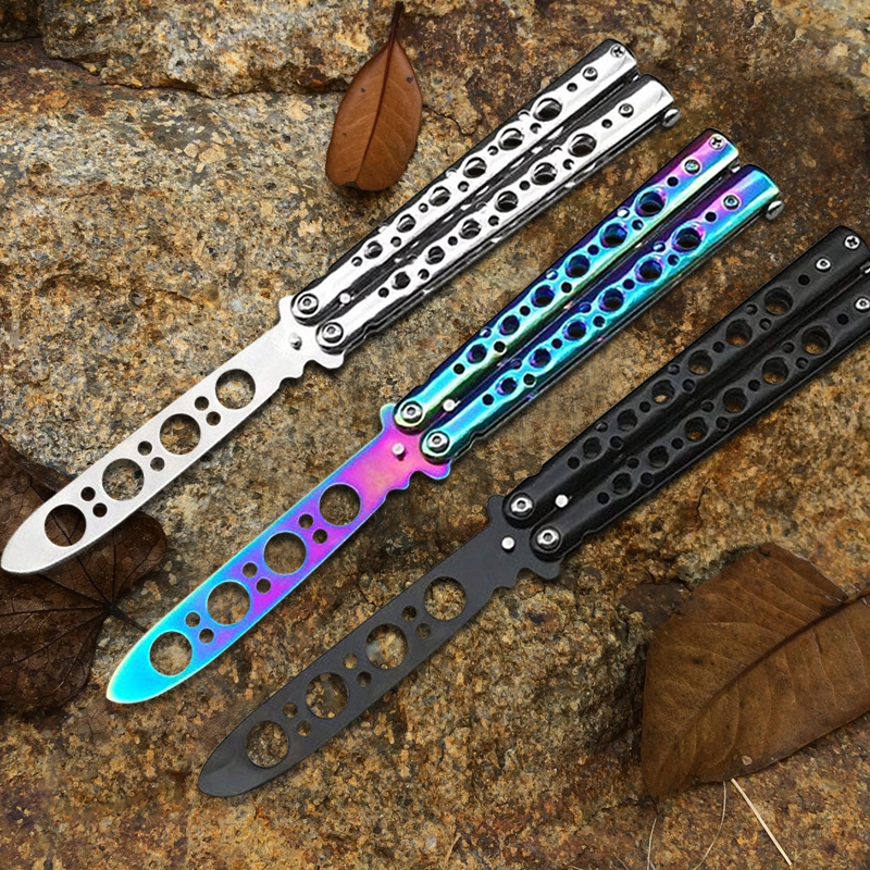 New Stainless Steel Knife Butterfly Training Knife Butterfly Knife Game Knife Dull Tool No Edge  Folding Outdoor Tool