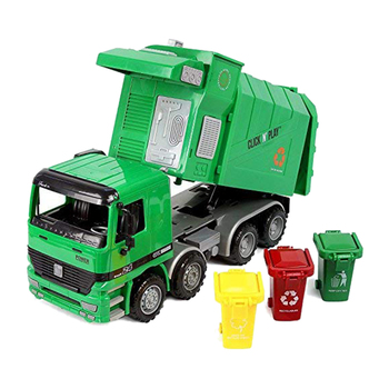 Friction Powered Garbage Truck Toy,With 3 Trash Cans,No Battery Required,A Great Gift for Children