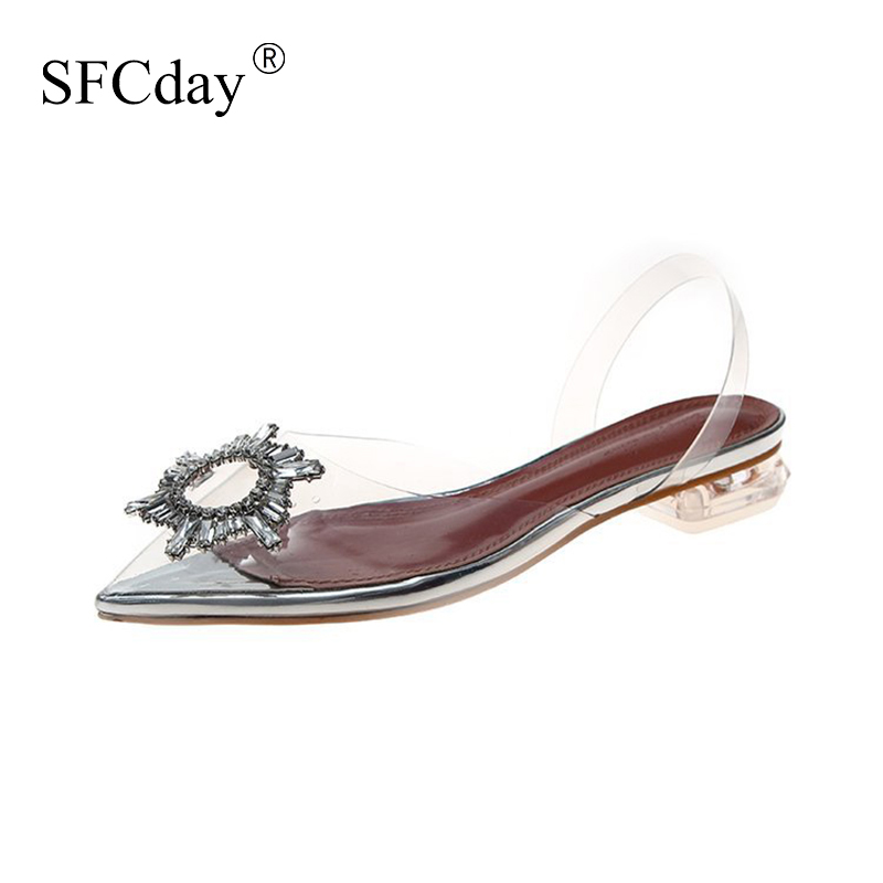 NEW Transparent Shoes Women Crystal Sandals Jelly Pointed Toe Clear High Heels Ladies Fashion Slip On Casual Female Footwear