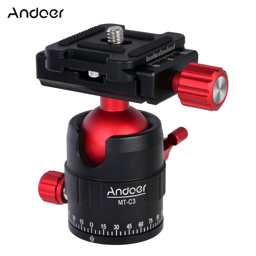 Andoer MT C3 Panoramic Tripod Ball Head Adapter 360 Rotation Aluminium Alloy Compact Tripod Ball Head with Quick Release Plate