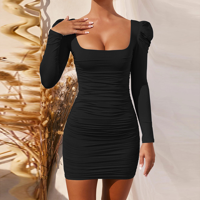 2021 Spring Long Sleeves Sexy Backless Mini Dress Women Black Square Collar Stretchy Pleated Bodycon Elegant Sheath Party Dress 1