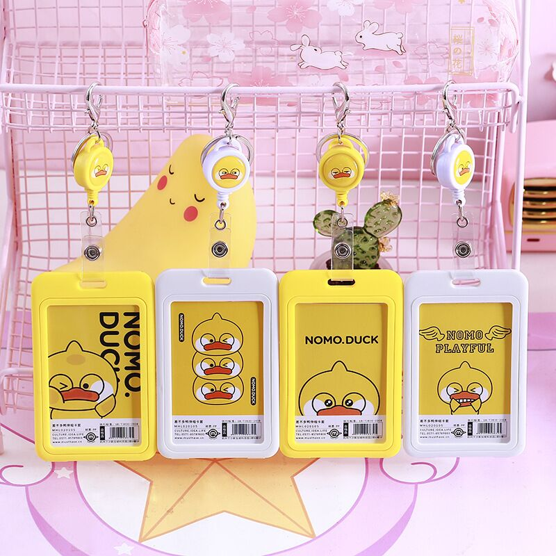 Sharkbang New Arrival 1PC Kawai Yellow Duck Portable ID Credit Bank Bus Card Holder Cute Card Protective Case School Stationery