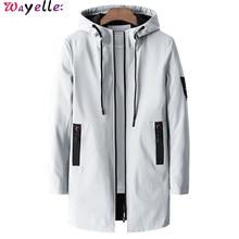 Long Trench Coat  Men New 2019 Autumn Winter Casual Jackets Waterproof Windbreaker Overcoats Fashion Hooded Coats