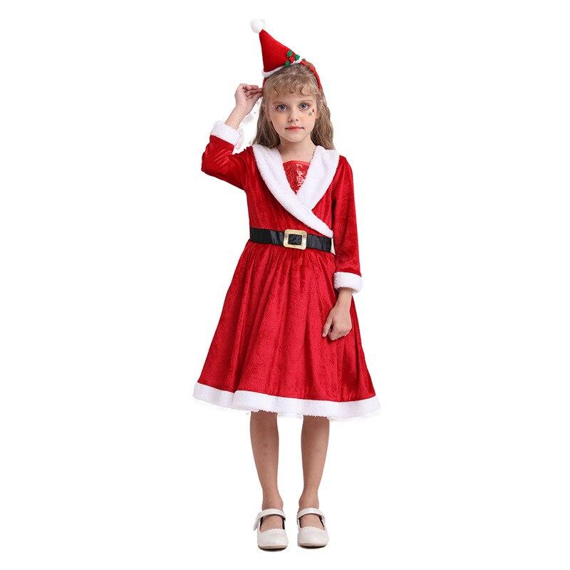 Novo natal crianças cosply papai noel saia meninas anime fantasiar-se trajes tomada de fábrica