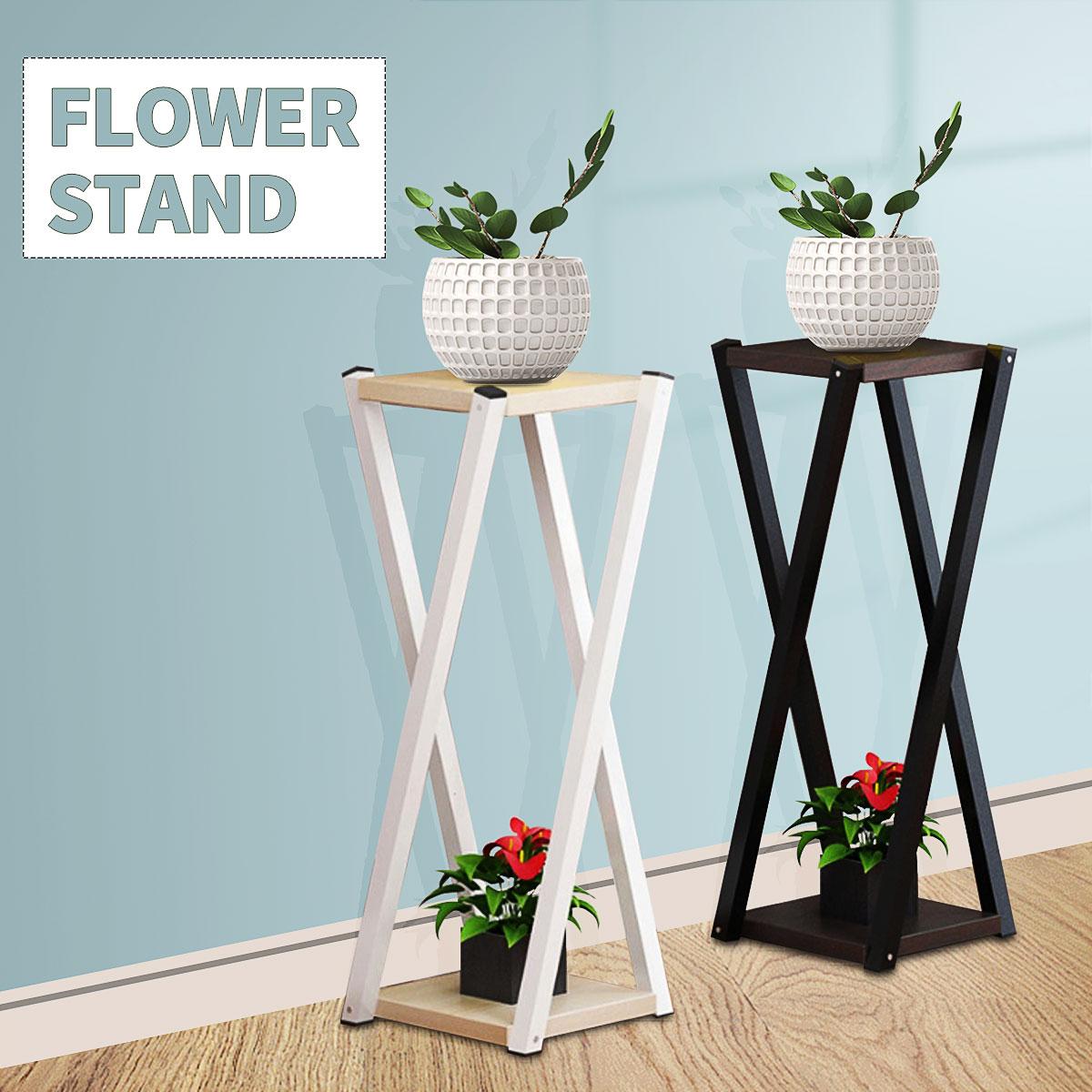 Indoor Floor-Standing Plant Stand Succulent Shelf Rack Balcony MDF Durable Simple Wrought Iron 2 Layer Indoor Flower Pot Shelf