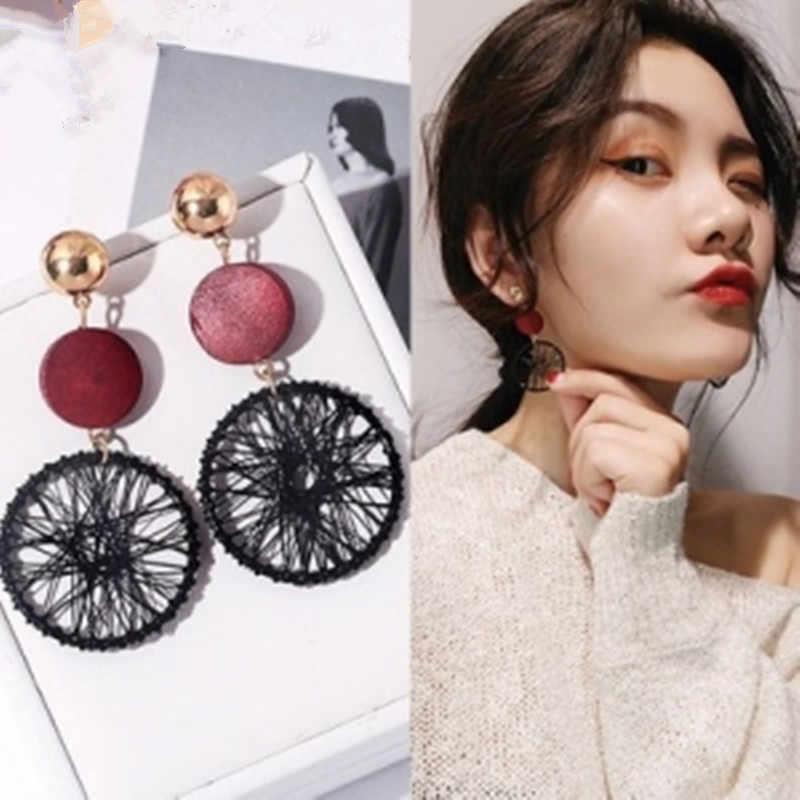 New exaggerated DIY wooden big circle earrings female temperament wild personality hollow mesh pendant earrings long multicolor