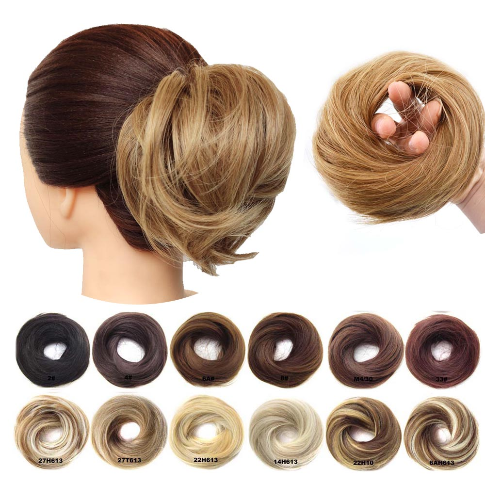 1 Piece Synthetic Scrunchie Donut Tousled Flexible Hair Bun Straight  Chignon Elastic Messy Scrunchies Wrap For Ponytail
